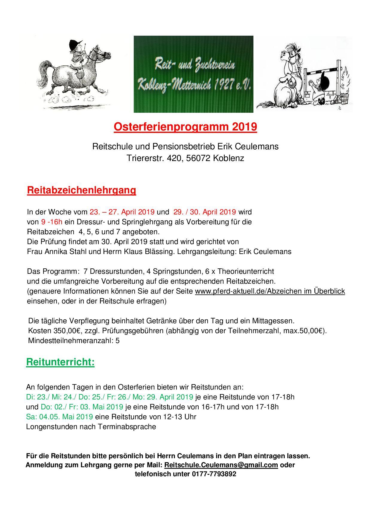 Osterferienprogramm der Reitschule Erik Ceulemans
