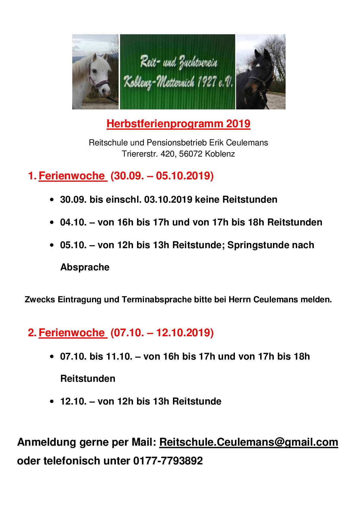Herbstferienprogramm der Reitschule Erik Ceulemans